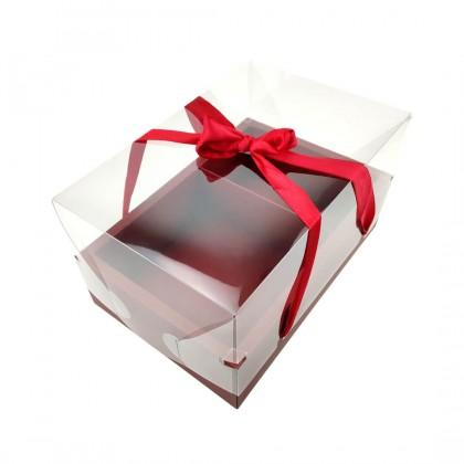 SHIOK Decorative Rectangular Transparent Flower Gift Box With 2 Compartment For Flower Arrangement/Gift Kotak Bunga Kek Hadiah BX1753